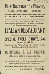 Advert for the Hotel Restaurant de Florence